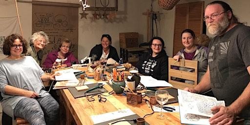 Valentines Wine and Wood Burning Workshop