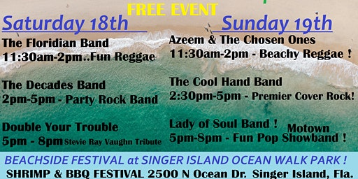 SHRIMP & BBQ FEST SINGER ISLAND ~ ROCK THE BEACH ~ JAM TIME ENTERTAINMENT