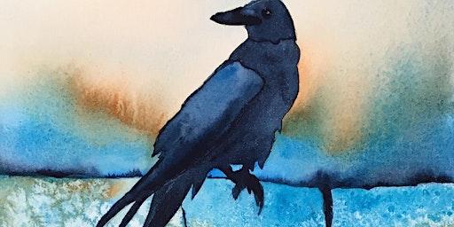 Splash Watercolor Class - Crow - On The Rocks