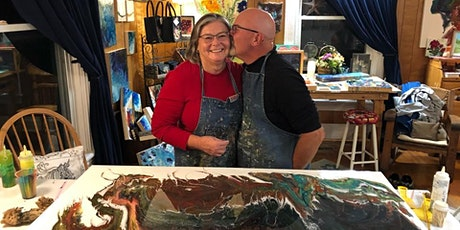 Liquid Glass; Valentine Date! Couples Paint Pouring, Food tickets
