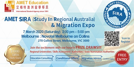 Melbourne - AMET SIRA (Study In Regional Australia) & Migration Expo  tickets