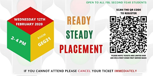 Ready Steady Placement (Faculty of Business & Law 2nd Year Students Only)