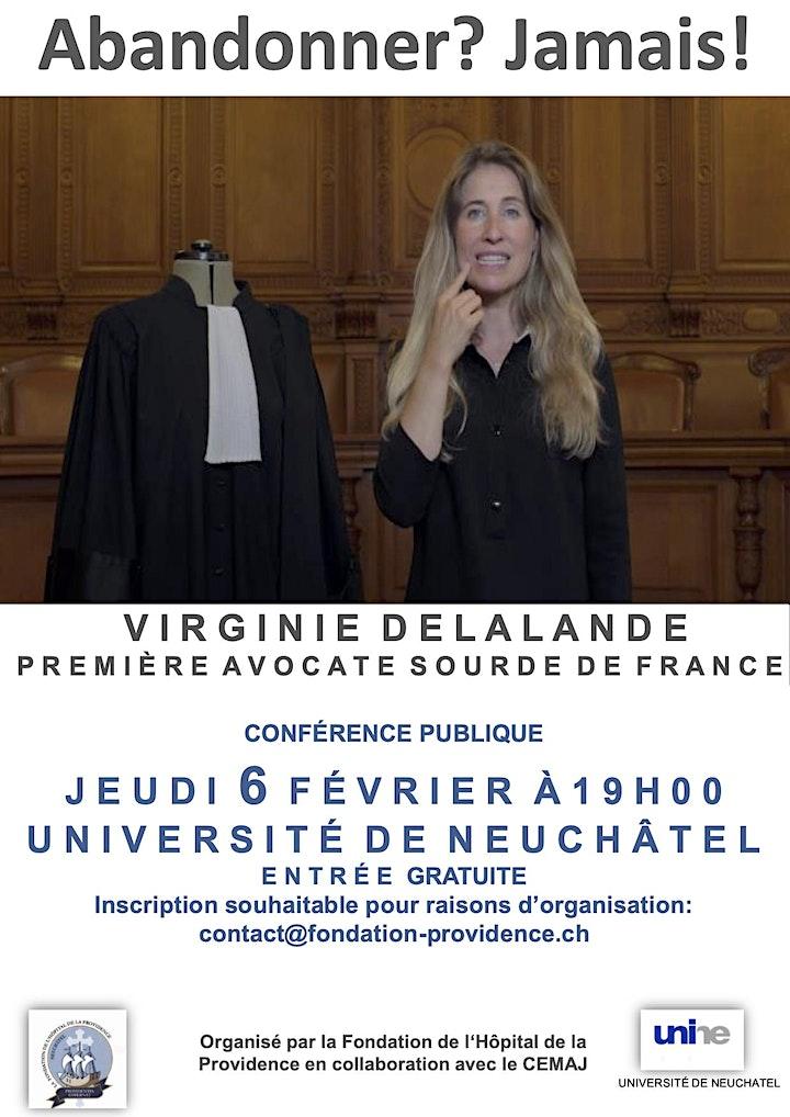 """Image pour Conférence de Virginie Delalande : """"Abandonner ? Jamais !"""""""