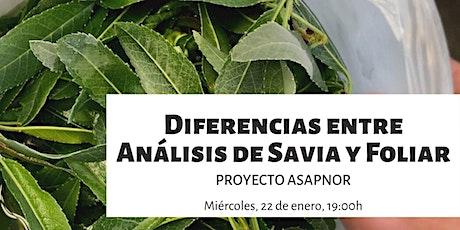 Diferencias entre análisis de savia y foliar - Proyecto ASAPNOR boletos