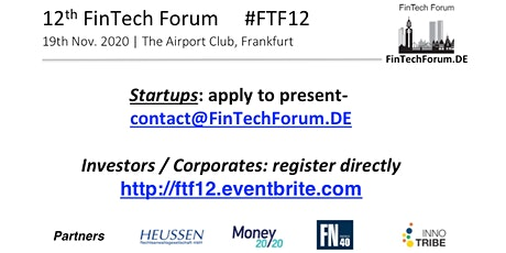12th FinTech Forum | 19th Nov. 2019  Tickets