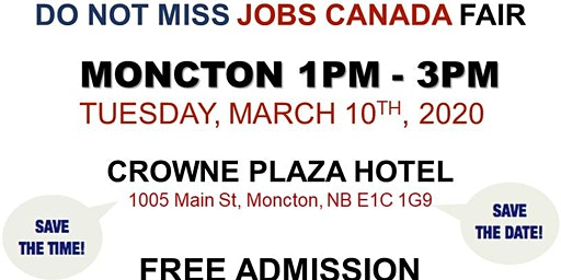 Moncton Job Fair – March 10th, 2020