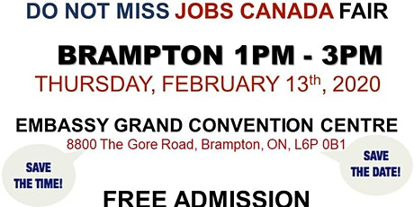 Brampton Job Fair - February 13th, 2020 tickets