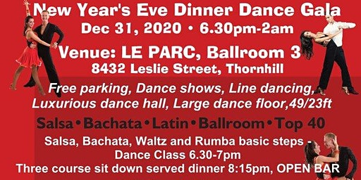 New Year's Eve Salsa, Bachata, Latin and Ballroom Dinner Dance Gala, Dec 31, 2020
