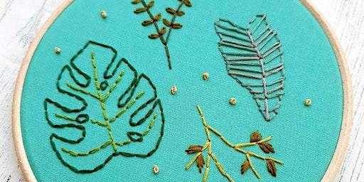 Botanical Leaf Art Hand Embroidery Workshop - Wigan