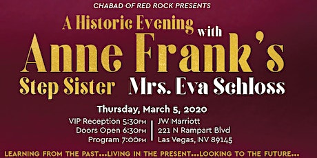 A Historic Evening with Eva Schloss - Anne Frank's Step-Sister tickets
