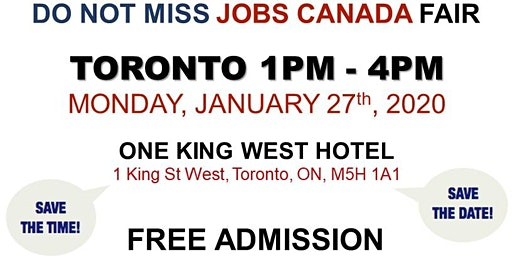 Free: Toronto Job Fair - January 27th, 2020