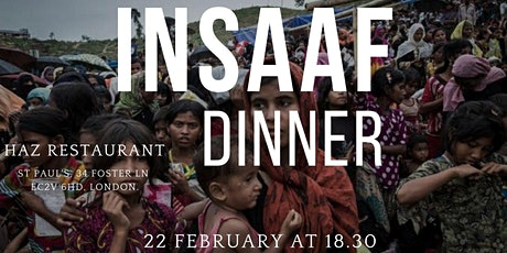 INSAAF Charity Dinner to Help Rohingya Refugees in Ramadan tickets