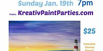 Sunday January 19th 7pm -Snowy beach scape paint party - Kreativ studio