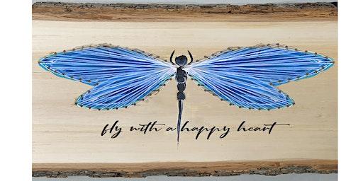 Dragonfly String Art Wooden Sign Wine Art Maker Class