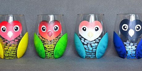 """Adult Open Paint (18yrs+) """"Lovebirds"""" Glasses tickets"""