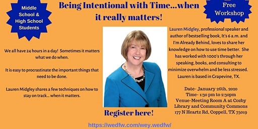 Workshop for Youth- Being Intentional with Time....When it really matters