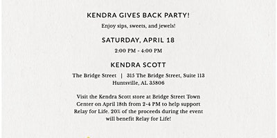 Kendra Scott Gives Back Benefit for Relay for Life of Limestone Co.