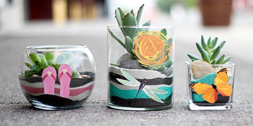 Painted Planter Sand Art Succulents Paint Sip Wine Art Maker Class