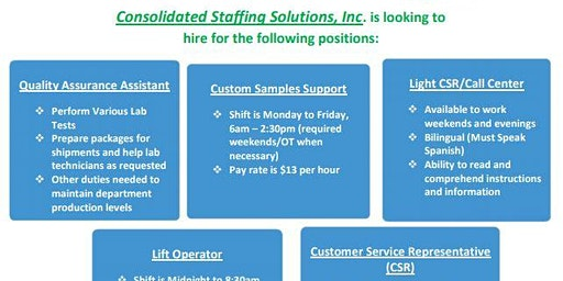 Consolidated Staffing Solutions, Inc. Recruitment