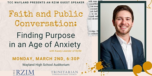 Faith and Public Conversations: Finding Purpose in and Age of Anxiety