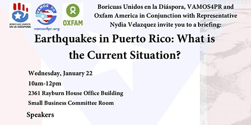 Congressional Briefing: Earthquakes in Puerto Rico