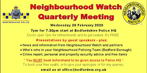 Bedford Neighbourhood Watch Quarterly Meeting February 2020