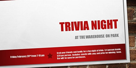 Trivia Night at the Warehouse on Park tickets