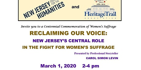 Reclaiming Our Voice: New Jersey's Central Role in Fight - Women's Suffrage tickets