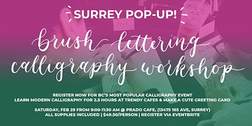 SURREY Brush Lettering CALLIGRAPHY Art Workshops