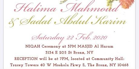 Halima & Sadat's Wedding tickets