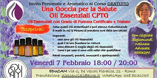 ROMA VALLE AURELIA Corso Gratuito sugli Oli Essenziali
