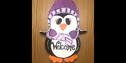 Penguin Wood Door Sign Painting Party with Canvas Paintings by Katie!