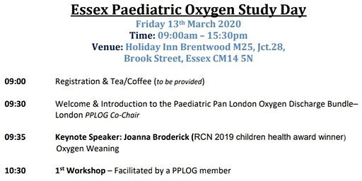 Paediatric Pan London Oxygen Group(PPLOG) Essex Study day
