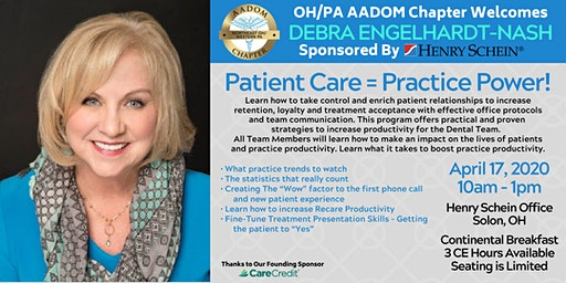 Patient Care = Practice Power! Presented by OH/PA AADOM Chapter