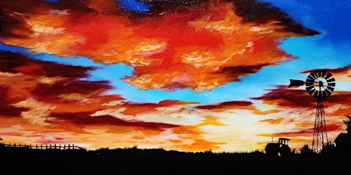 Creating a silloutte  sunset on canvas