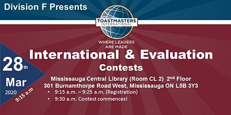 Division F Toastmasters  Evaluation & International Contest tickets