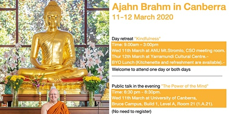 Ajahn Brahm in Canberra 11-12 March 2020  tickets