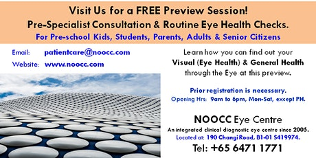 Free Preview on 'Pre-Specialist Consultation & Eye Health Checks tickets
