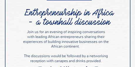 Entrepreneurship in Africa - a townhall discussion tickets