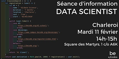 Séance d'information-Data Scientist-Charleroi