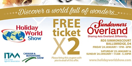 Free entry to Holiday World Show Dublin 2020 for Sundowners Overland Customers tickets