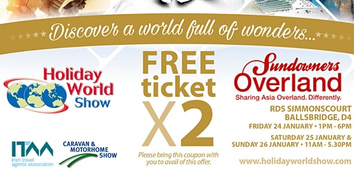 Free entry to Holiday World Show Dublin 2020 for Sundowners Overland Customers