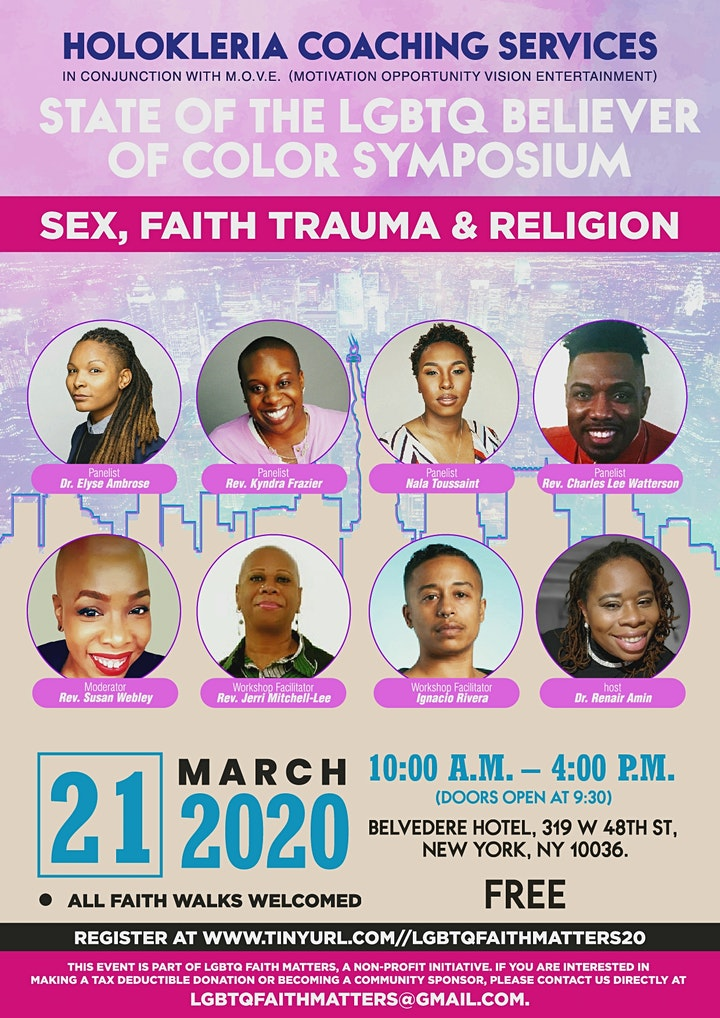 Flyer featuring all of the facilitators, panelists, as well as the host of the event.