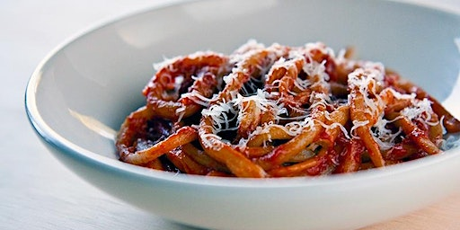 Home-made PICI PASTA with Red Sauce and Parmigiano Crostino