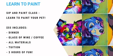 Grab a glass of wine and learn to paint your pet - Andy Warhol style! tickets