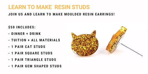 Grab a glass of wine and learn to make moulded resin earrings!