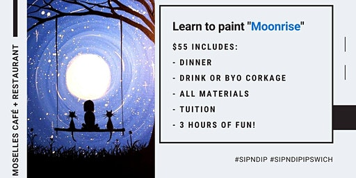 Grab a glass of wine and learn how to paint 'Moonrise'!
