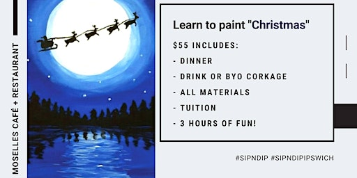 Grab a glass of wine and learn how to paint 'Christmas'!
