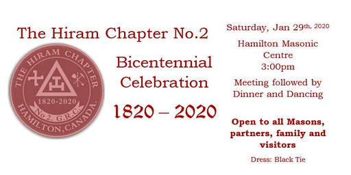 The Hiram Chapter No. 2 GRC - Bicentennial Celebration - Hamilton
