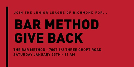 Junior League of Richmond Bar Method Give Back Event